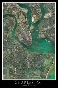 Charleston South Carolina Satellite Poster Map
