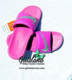 Swarovski Nike Pink Benassi Slides / Flip Flops Blinged with SWAROVSKI® Crystals
