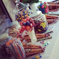 Sweets for the Sweet....Vintage Style Candy Popcorn Bar with Vintage Candy Jars