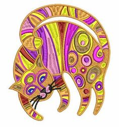 Modern cat free embroidery design 5 - Animals free machine embroidery design - Machine embroidery forum