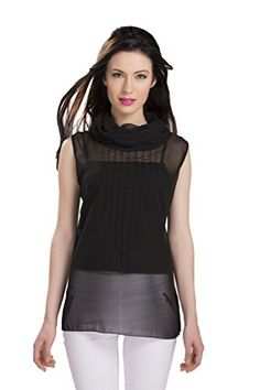 ISHIN Casual Sleeveless Solid Women's Georgette Black Western Top...  available at amazon for Rs.299