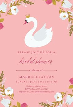 Swan invitation template. Customize, add text and photos. Print, download, send online for free! #invitations #printable #diy #template #bridalshower #bridal #party