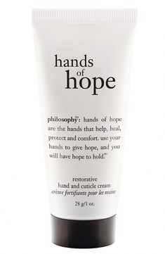 A bottle of the critically acclaimed Philosophy Hand of Hope hand and cuticle cream that works by giving you a long-lasting, non-greasy, quick-absorbing formula designed to soften your hands but also protect them from getting dry again. #CleanserForOilySkin Softer Hands, Rough Hands, Best Lotion, Hand Lotion, Cleanser For Oily Skin, Hand Therapy, Dry Hands, Health And Beauty Tips, Press On Nails