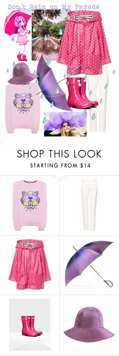 """Don't Rain on My Parade☔️"" by mdfletch ❤ liked on Polyvore featuring Kenzo, Kanna Shoes, Black and rainydayoutfit"