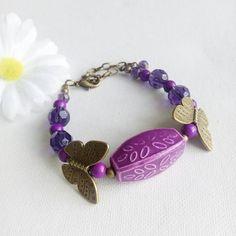 Butterfly Bracelet Purple Butterfly by Bluebirdsanddaisies on Etsy