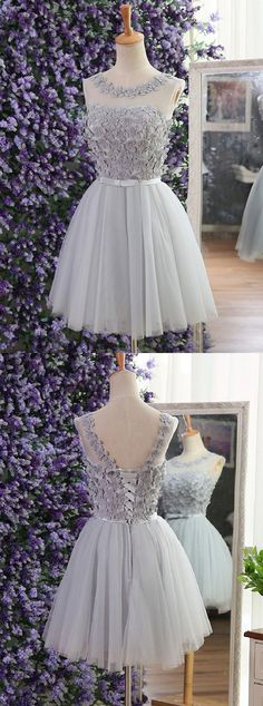 short homecoming dresses,grey homecoming dresses,tulle homecoming dresses,lace up homecoing dresses