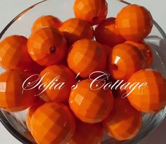 20mm Orange faceted  bubble gum chunky beads by SofiasCottage, $2.00