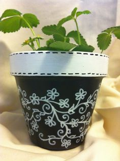 Black & White Vines Terracotta Pot by LizandSara on Etsy, $12.00