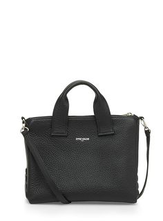 """This Jerome Bocchio handbag was made in Canada in timeless black leather. Its trendy and modern structured design will easily hold your phone, keys, wallet and cosmetic case. A truly faithful companion!    Genuine leather   Suede lining   Zip closure   Handbag handles and removable strap      Height: 7.5""""   Length: 10""""   Width: 5.5"""""""