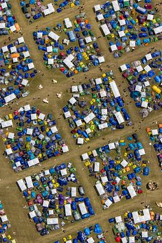 Aerial view of tents at Roskilde Festival, Denmark, 2012