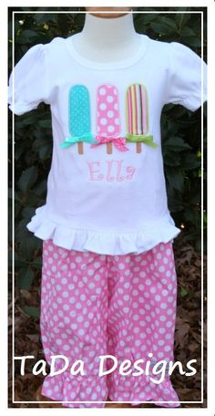 Appliqued Popsicle Shirt with Monogram and by TaDaDesignsInc, $42.00