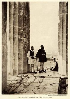 hellasinhabitants: 1922 The western portico of the Parthenon, a temple situated on the Athenian Acropolis, Hellas. Photograph by Fred Boissonnas. History Of Photography, Vintage Photography, Athens Greece, Acropolis Greece, Mycenae, Greek History, Parthenon, Greek Art, Crete
