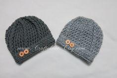 Crochet baby hat Pewter Grey/Light Grey Baby Boy Hat Set of
