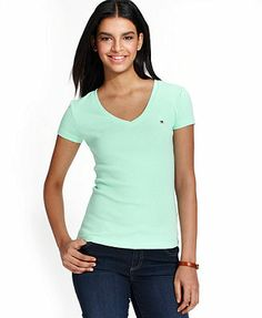 Tommy Hilfiger Short-Sleeve V-Neck Tee - Need in red for family picnic.