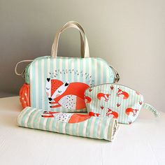 FOX DIAPER BAG set/  nappy bag set with by ElevenRoostersJunior