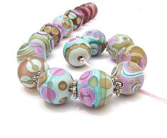 CLO Handmade glass lampwork beads - Brocade bead pic#2