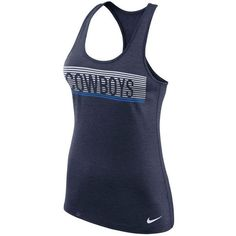 Nike Women's Dallas Cowboys Dri-Fit Touch Tank ($35) ❤ liked on Polyvore featuring activewear, activewear tops, navy, nike, nike sportswear, nike activewear and nfl sportswear
