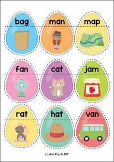 Easter Treats Preschool Centers. Easter egg CVC matching.