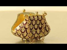 Faberge Style bag trinket box by Keren Kopal Swarovski Crystal Jewelry box - YouTube
