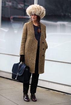 Marina Munoz in Giant Furry Hat | Street Fashion | Street Peeper | Global Street Fashion and Street Style