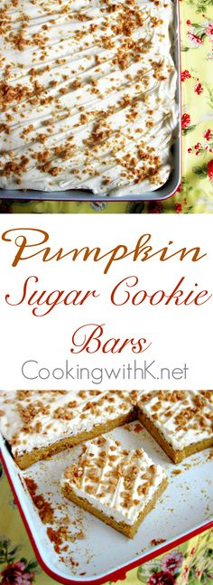 Pumpkin Sugar Cookies, chewy, thick soft sugar cookie bars frosted with a vanilla buttercream and sprinkled with toffee bits.  Want to know the secret to how easy and quick they are to make?