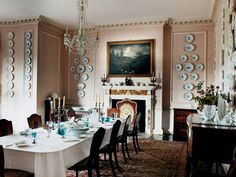 Smedmore House, a 17th-century manor on the Dorset coast - Its walls are painted a warm pink that becomes lighter as it rises up the walls. Photography: Tim Beddow. via - WoI