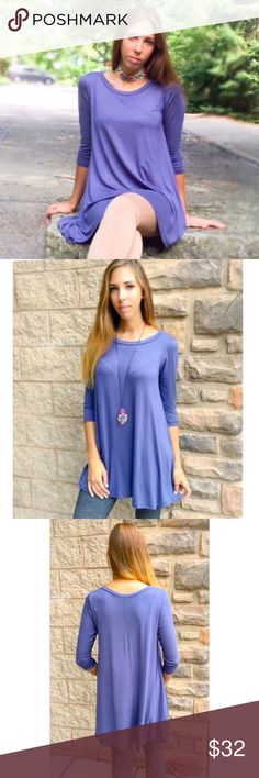Easy Wear Swing Tunic Perfect steal blue swing tunic easy & flowy for the fall time. Pair with a blanket scarf & some boots and you have the ultimate fall outfit. Sizes S,M,L Threads & Trends Tops Tunics