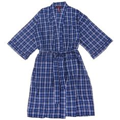 Navy and White Plaid Broadcloth Bathrobe for Men Onesize « Impulse Clothes