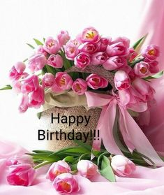 Happy Birthday Flowers Wishes, Happy Birthday Art, Happy Birthday Celebration, Birthday Wishes And Images, Birthday Blessings, Happy Birthday Pictures, Happy Birthday Messages, Happy Birthday Greetings, Pink Bouquet