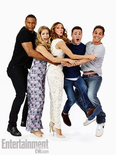 David Ramsey, Emily Bett Rickards, Katie Cassidy, Colton Haynes, co-creator Greg Berlanti (Arrow)