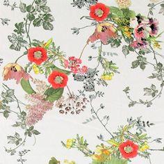 Stretch-Jersey, Natur m.digitalen Blumen