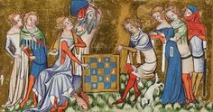 medieval art showing the fashion of nobles in 1350, exemplifying the chaperons.