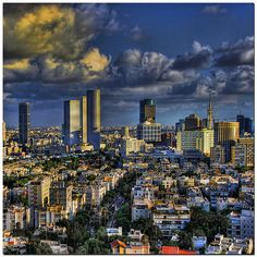 Sunset in the City of Tel Aviv, Israel by ronsho