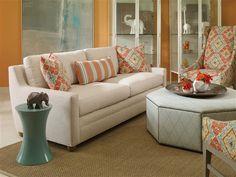 "Vanguard Furniture: Room Scene AB_652-2S_V933-OT...teal resin table ""make it yours"""