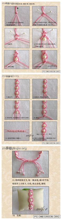 Silk string braiding and bead jewelry or embellishment. Beading,Jewelry Making,MacramNudos,My Style, Jewelry Patterns, Bracelet Patterns, Beading Patterns, Bead Crafts, Jewelry Crafts, Handmade Jewelry, Macrame Jewelry, Macrame Bracelets, Diy Bracelet