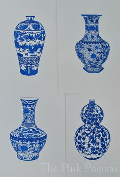 Blue and White Chinese Vase - 3  13x19 Giclee. $45.00, via Etsy.