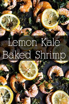 A simple and flavorful Lemon Kale Baked Shrimp from www.dineanddish.net