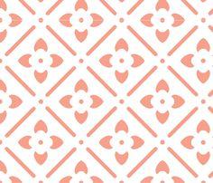 Flower Medallion-Coral fabric by leahvanlutz on Spoonflower - custom fabric