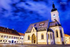 St. Mark's Church, Zagreb - Beautiful late gothic St. Mark's Church in Upper town of Zagreb, Croatia. Taken just around blue hour.