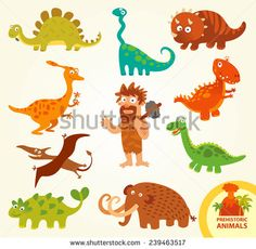 Set funny prehistoric animals. Caveman, allosaurus, triceratops, mammoth, brachiosaurus, stegosaurus, pterodactyloidea. Funny cartoon character. Vector illustration. Isolated on white background