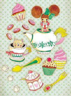 it's tea time! Isometric Art, Japanese Tea Ceremony, Computer Animation, Tea Art, Painting Wallpaper, Tea Time, Street Art, Kids Rugs, English Lessons