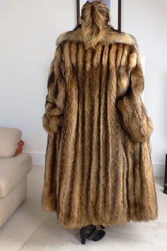 Fantastic luxurious silver saga fox real fur coat jacket xl huge ...