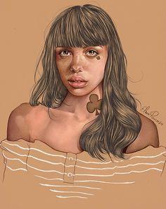 Elena Pancorbo {beautiful female head young woman face portrait drawing illustration #loveart} elenapancorbo.tumblr.com