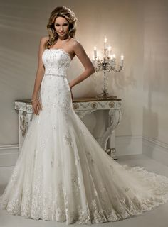 Fascinating White A-line Strapless Corset Closure Floor-length Wedding Dress Sweep Train With Beads 00183