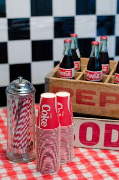 Coca Cola station at a  50's diner retro birthday party! See more party ideas at CatchMyParty.com!