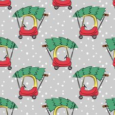 Christmas Fabric - Kids Car With Christmas Tree On Grey W/ Snow By Littlearrowdesign - Christmas Cotton Fabric By The Yard With Spoonflower Irish Christmas, Christmas Tree, Christmas Fabric, Spoonflower Fabric, Double Gauze Fabric, Fabric Swatches, Childcare, Fleece Fabric, Surface Design