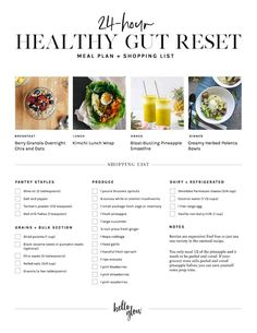 Healthy Gut Reset Meal Plan + Shopping List / / / Healthy Gut Reset Meal Plan + Shopping Healthy Gut Reset Meal Plan + Shopping List · May Post may cont Health Meal Plan, Detox Meal Plan, Health Diet, Health Meals, Foods For Gut Health, Gut Healing Foods, News Health, Smoothie Detox Plan, Oat Smoothie