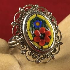 Vintage Italian Millefiori Glass Mosaic Silver Plated Filigree Flower Ring BB1163|We combine shipping|No Question Refunds|Bid over $60 for free shipping . Starting at $1