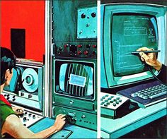Computers at work 1969 Illustrated by Whitecroft Designs.