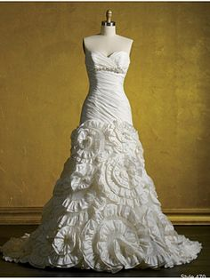 Really interesting designs on the skirt of this Alfred Angelo dress.